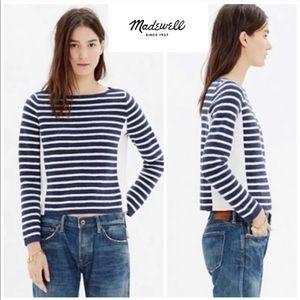 Madewell   EUC Zipper Neck Striped Sweater